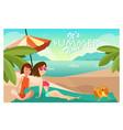 couple girls on a beach cartoon vector image