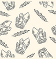 crystals and feathers seamless boho pattern vector image