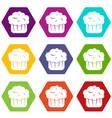 cupcake icon set color hexahedron vector image vector image