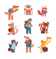Cute animals traveling set wild animals cartoon