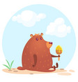 cute cartoon brown bear vector image