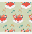 cute foxes heads with flower crown vector image vector image
