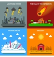 Disaster Concept 4 Flat Icons Square Banner vector image vector image