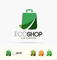 eco shop logo set with shopping paper bag vector image vector image