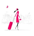 Fashion woman with suitcase cityscape background vector image vector image