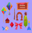 festa junina set with corn and paper lantern vector image vector image