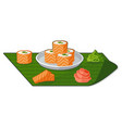 flat with rolls wasabi and ginger vector image
