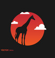 giraffe shadow on sun vector image vector image