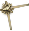 golden bow with ribbon isolated on white vector image