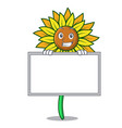grinning with board sunflower character cartoon vector image