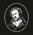 jesus with crown of thorns vector image vector image