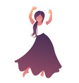 little gypsy girl with flower in her hair dancing vector image vector image