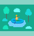 man in hat swimming on inflatable rubber boat vector image vector image