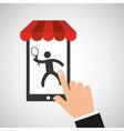 mobile phone silhouette sportman tennis vector image