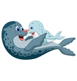 Mother and baby seal cartoon vector image vector image