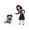 mother punishing her little sad crying daughter vector image vector image