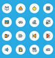 multimedia icons colored line set with sd card vector image