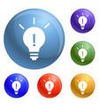 new idea bulb icons set vector image vector image