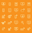 online banking line color icons on orange vector image vector image
