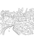 park road and trees graphic black and white vector image vector image