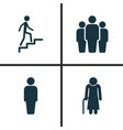 people icons set collection of ladder old woman vector image vector image