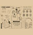 pizza menu placemat vector image vector image
