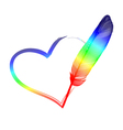 rainbow feather heart vector image vector image