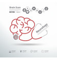 red stethoscope in shape of brain scan vector image