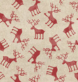 Retro Christmas seamless pattern with funny deers vector image vector image