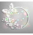 round frame with butterfly and flowers with effect vector image vector image