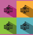 school building icon with shadow on colored vector image vector image