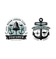 seafarer shipping cruise logo or label nautical vector image vector image