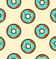 Seamless background with cartoon donut food vector image vector image