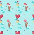 seamless pattern with cute animals in love vector image vector image
