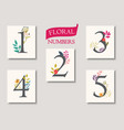 set beautiful flowers and numbers for wedding vector image vector image