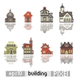 Set of Pixel art isometric building vector image vector image