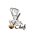 soup ladle and chef hat vector image vector image