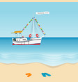 summer holiday 2020 concept with sailboat vector image vector image