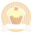 Sweet lemon cupcake with pink heart on stripes vector image