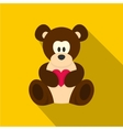 Teddy bear with pink heart icon flat style vector image vector image