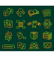 Translator profession icons set outline style vector image vector image