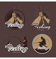 Vintage fishing club emblems and labels vector image