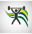 weight lifting sportsman flag background design vector image