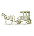 Woodcut Horse and Buggy vector image vector image