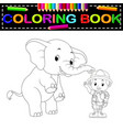 zookeeper and elephant coloring book vector image vector image
