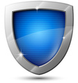 Blue metal shield with sparkles vector image