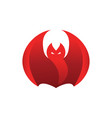abstract red flame fierce bat design template vector image
