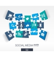 Abstract social media background with connected vector image