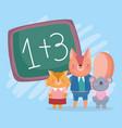 back to school fox squirrel koala chalkboard vector image vector image