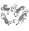 basketball game set with doodle cute zebra player vector image vector image
